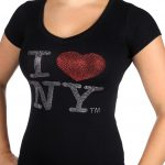 I Love NY Rhinestone V-Neck Ladies Tee – Black