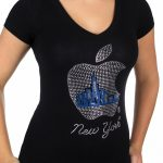 Black Rhinestone Big Apple Ladies Fitted V-Neck Tee