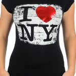 I Love NY Brushed Foil Black Ladies T-Shirt