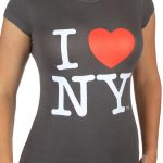 I Love NY Charcoal Ladies Fitted Tee