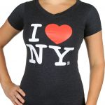 I Love NY Ladies V-Neck T-Shirt – Charcoal