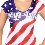 New York American Flag V-Neck Rhinestone Ladies T-Shirt