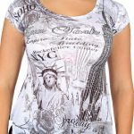 NY Liberty and Empire State Rhinestones White Ladies T-Shirt