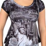 NY Liberty and Empire State Rhinestones Black Ladies T-Shirt
