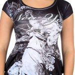 Statue of Liberty Floral Design Black Ladies T-Shirt