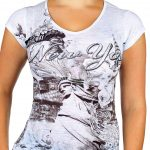Statue of Liberty Floral Design White Ladies T-Shirt