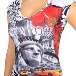 NY Liberty with Taxis Floral Ladies T-shirt