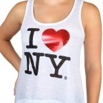 White I Love NY Ladies Flowy Foil Tank