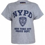 NYPD with shield Full Chest Ash Kids Tee