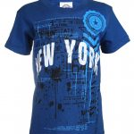 NY Empire State Stamp Blue Distressed Kids T-Shirt
