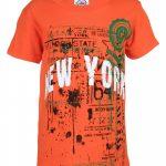 NY Empire State Stamp Orange Distressed Kids T-Shirt