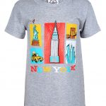 NY Cartoon Icons Grey Kids T-Shirt