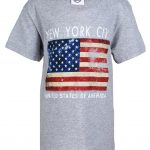 NYC Distressed Flag Grey Kids T-Shirt