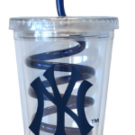 NY Yankees Plastic Short Tumbler with Swirly Straw