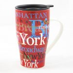 "NYC ""Hotspots"" Ceramic Travel Mug – Red"