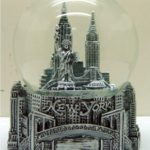 NY Skyline and Bridge Pewter 80mm Snowglobe