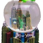 NY Skyline and Bridge Apple Shaped 45mm Snowglobe
