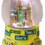 NY Skyline Street Signs Yellow 45mm Snowglobe
