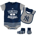 Yankees Baby Bib & Booties 3-pc Set – Grey Stripes