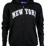 New York Black Zipper Hoodie