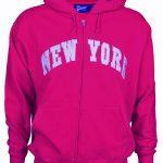 New York Fuschia Zipper Hoodie