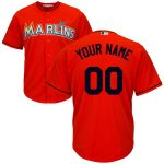 Miami Marlins Replica Personalized Firebrick Alt Jersey