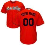 Miami Marlins Replica Personalized Firebrick Alt Jersey