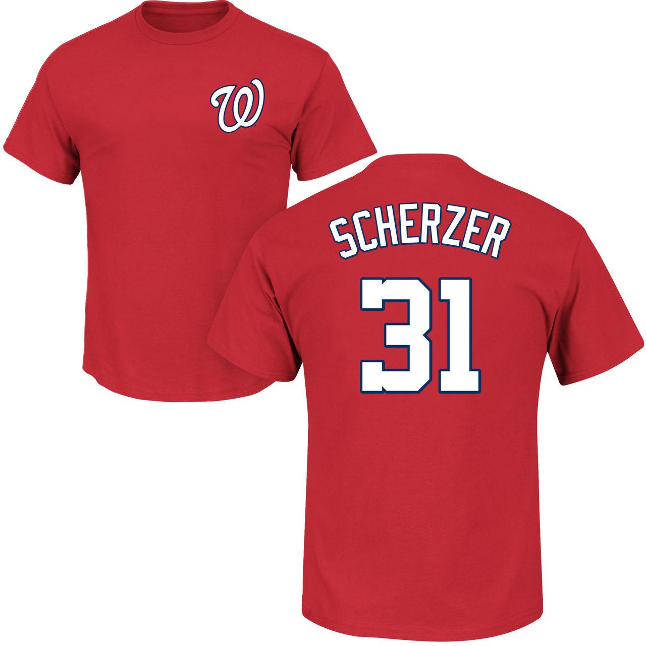 size 40 6b8f1 01f84 Max Scherzer T-Shirt – Red Washington Nationals Adult T ...