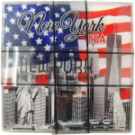 NYC American Flag 4pc Set Glass Coasters